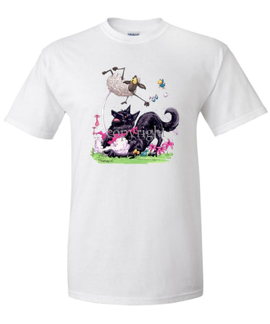 Belgian Sheepdog - Puppy Pose Chasing Sheep - Caricature - T-Shirt