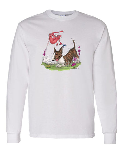 Bull Terrier  Brindle - Chasing Cat - Caricature - Long Sleeve T-Shirt