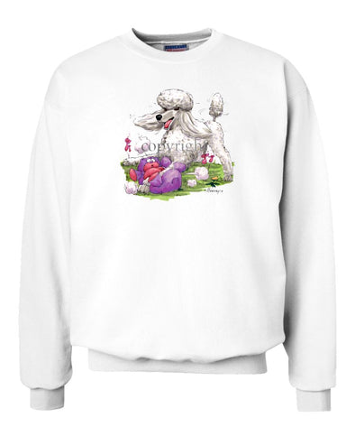 Poodle  White - With Stuffed Bear - Caricature - Sweatshirt