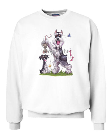 Schnauzer - Standing Holding Mouse - Caricature - Sweatshirt