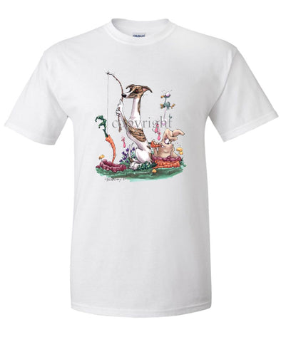 Whippet - Fishing With Carrot - Caricature - T-Shirt