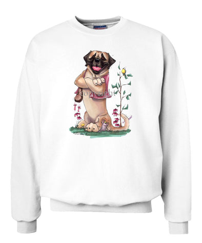 Mastiff - Sitting With Vest On - Caricature - Sweatshirt