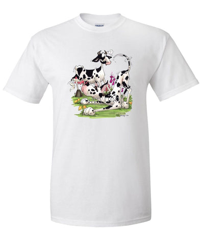 Great Dane  Harlequin - With Cow - Caricature - T-Shirt