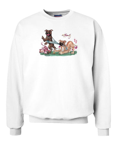Staffordshire Bull Terrier - Group Tugging On Shirt - Caricature - Sweatshirt