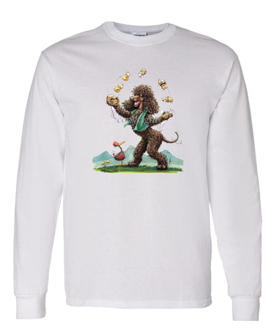 Irish Water Spaniel - Juggling Potatoes - Caricature - Long Sleeve T-Shirt