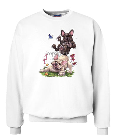 French Bulldog - Group Sitting On Each Other - Caricature - Sweatshirt