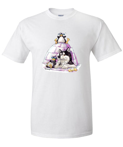 Siberian Husky - Igloo - Caricature - T-Shirt