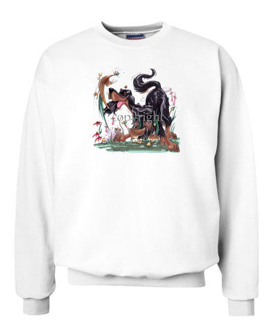 Gordon Setter - Chasing Pheasants - Caricature - Sweatshirt