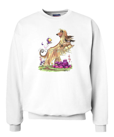 Afghan Hound - Standing With Rabbit - Caricature - Sweatshirt