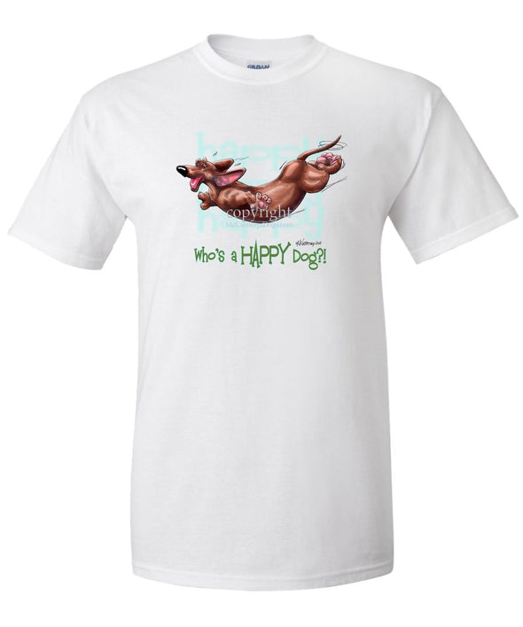 Dachshund  Smooth - Who's A Happy Dog - T-Shirt