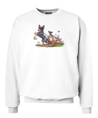 Australian Cattle Dog - Pulling Cow By Tail - Caricature - Sweatshirt