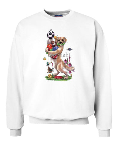 Golden Retriever - Holding Balls - Caricature - Sweatshirt