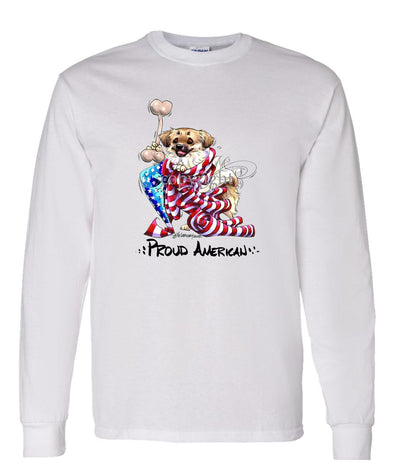 Tibetan Spaniel - Proud American - Long Sleeve T-Shirt