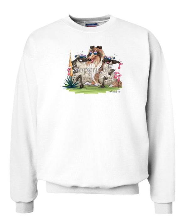 Collie - Hugging Sheep - Caricature - Sweatshirt
