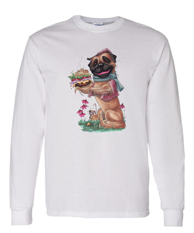 Bullmastiff - Cheeseburger - Caricature - Long Sleeve T-Shirt