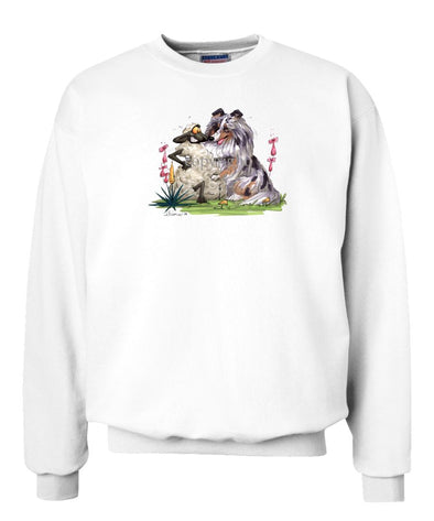 Shetland Sheepdog  Blue Merle - Hugging Sheep - Caricature - Sweatshirt