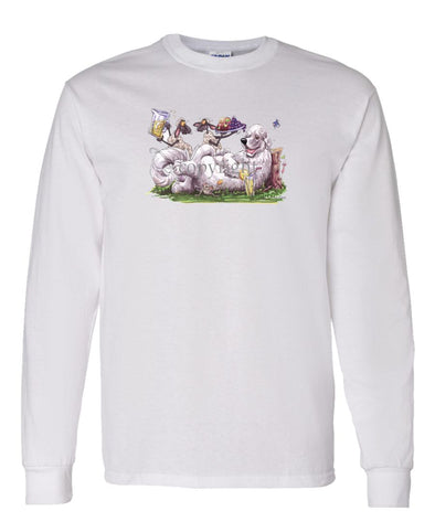 Great Pyrenees - Sheep Serving Lemonade And Fruit Plate - Caricature - Long Sleeve T-Shirt