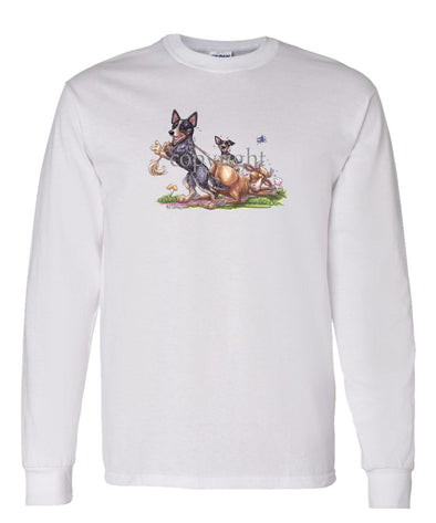 Australian Cattle Dog - Pulling Cow By Tail - Caricature - Long Sleeve T-Shirt