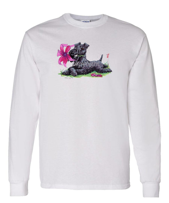 Kerry Blue Terrier - Flower - Caricature - Long Sleeve T-Shirt