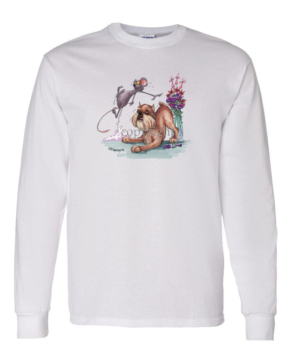 Brussels Griffon - Mouse And Flowers - Caricature - Long Sleeve T-Shirt