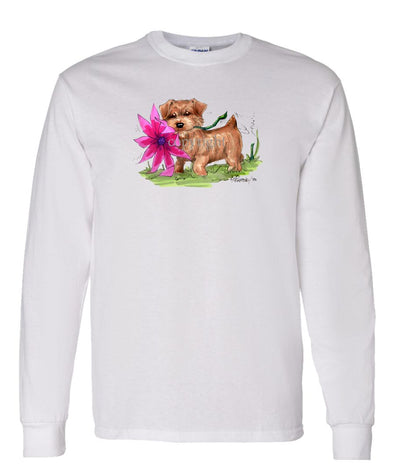 Norfolk Terrier - With Flower - Caricature - Long Sleeve T-Shirt