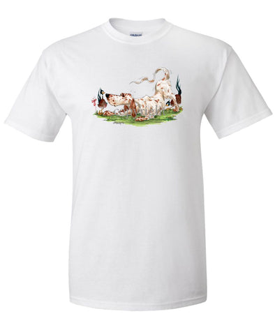 English Setter - Playing With Pheasants - Caricature - T-Shirt