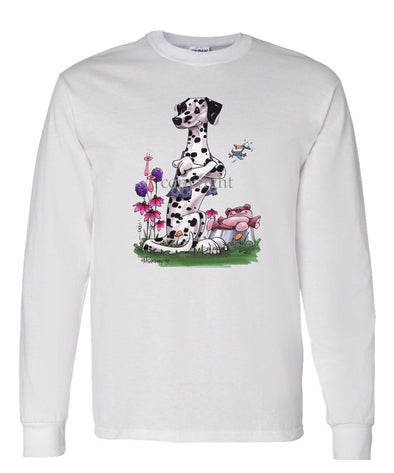 Dalmatian - Sitting With Stuffed Bear - Caricature - Long Sleeve T-Shirt