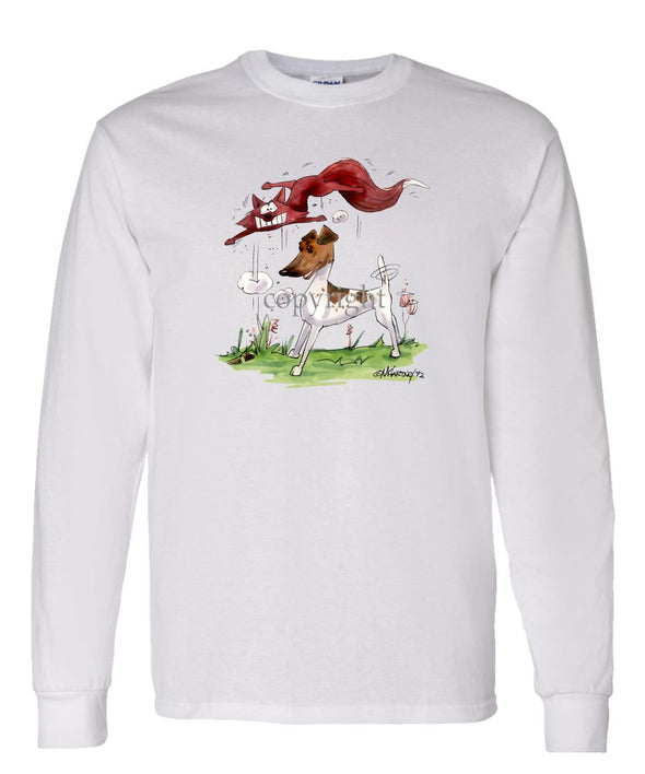 Smooth Fox Terrier - With Fox - Caricature - Long Sleeve T-Shirt
