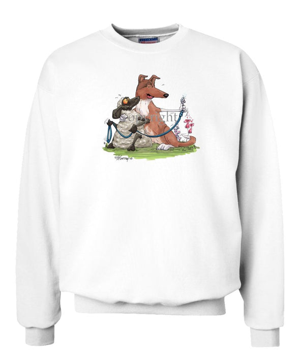 Collie  Smooth - Hugging Sheep With Leash - Caricature - Sweatshirt