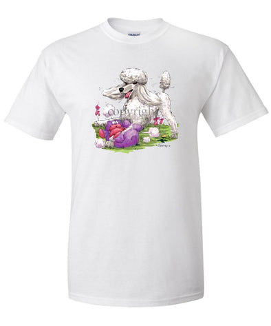 Poodle  White - With Stuffed Bear - Caricature - T-Shirt