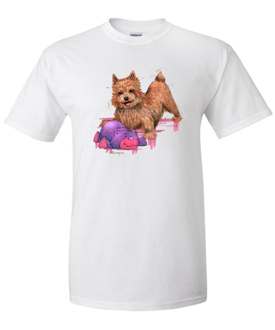 Norwich Terrier - With Stuffed Bear - Caricature - T-Shirt