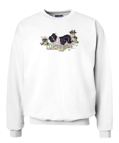 Border Collie - Herding Sheep - Caricature - Sweatshirt