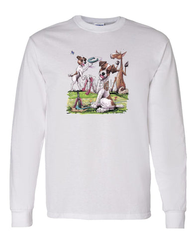 Jack Russell Terrier - Group Playing Horseshoes - Caricature - Long Sleeve T-Shirt