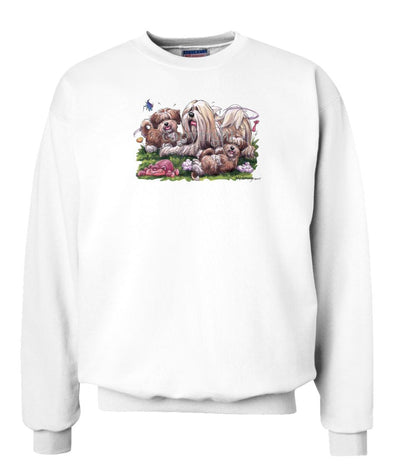 Lhasa Apso - With Puppies - Caricature - Sweatshirt