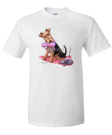 Welsh Terrier - Stuffed Mouse - Caricature - T-Shirt