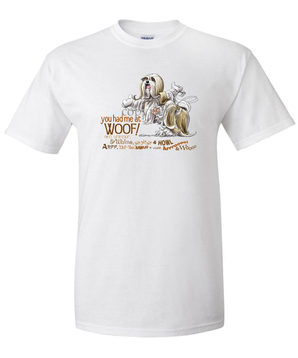 Lhasa Apso - You Had Me at Woof - T-Shirt