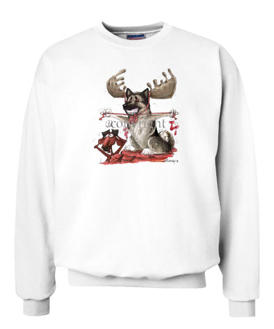 Norwegian Elkhound - With Antlers - Caricature - Sweatshirt