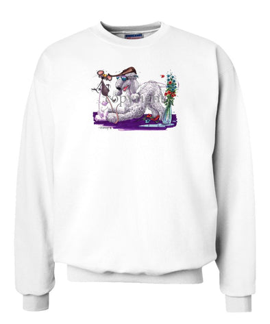 Bedlington Terrier - Puppy Pose With Mouse - Caricature - Sweatshirt