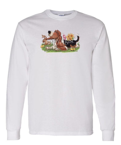 Basset Hound - Rabbit Pulling Ear - Caricature - Long Sleeve T-Shirt