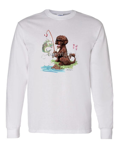 Portuguese Water Dog  Brown - Fishing - Caricature - Long Sleeve T-Shirt