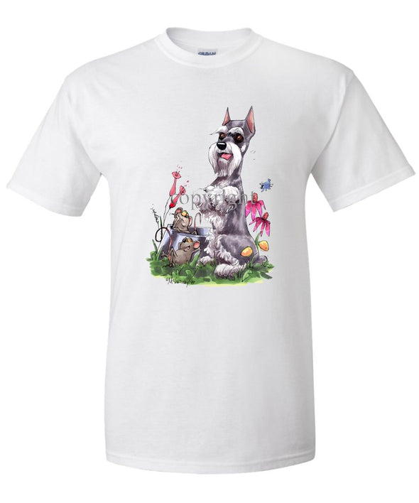 Schnauzer - Sitting With Mice Dish - Caricature - T-Shirt