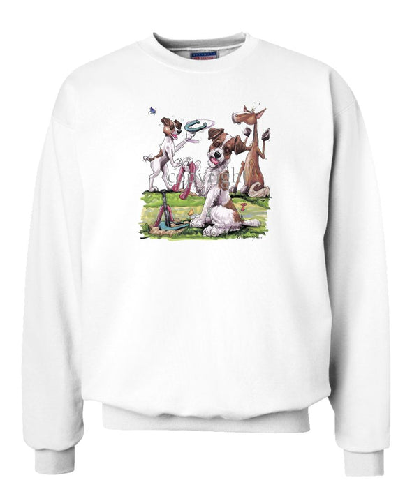 Parson Russell Terrier - Group Playing Horseshoes - Caricature - Sweatshirt