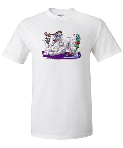 Bedlington Terrier - Puppy Pose With Mouse - Caricature - T-Shirt