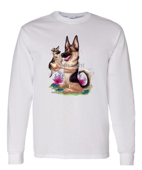 German Shepherd - Holding Puppy - Caricature - Long Sleeve T-Shirt