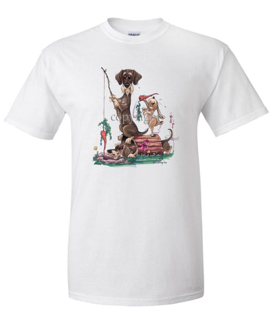 Dachshund  Wirehaired - Fishing With Carrot - Caricature - T-Shirt