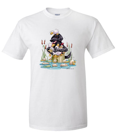 Flat Coated Retriever - Waders - Caricature - T-Shirt