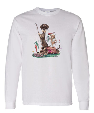 Dachshund  Wirehaired - Fishing With Carrot - Caricature - Long Sleeve T-Shirt
