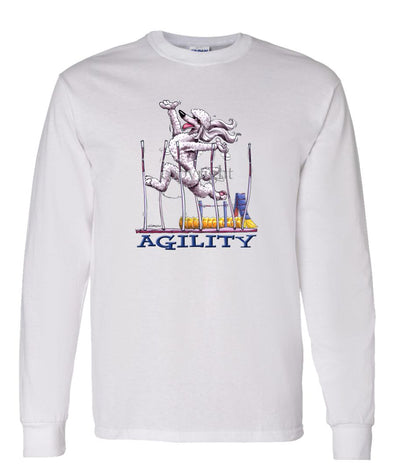 Poodle  White - Agility Weave II - Long Sleeve T-Shirt