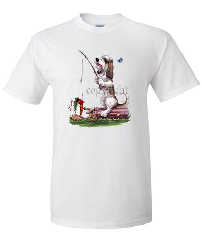 Petit Basset Griffon Vendeen - Fishing With Carrot - Caricature - T-Shirt