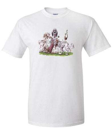 English Setter - Group Hollow Log And Pheasants - Caricature - T-Shirt